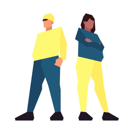 Set of low poly overweight people in casual clothes isolated on white background. Vector illustration Ilustração