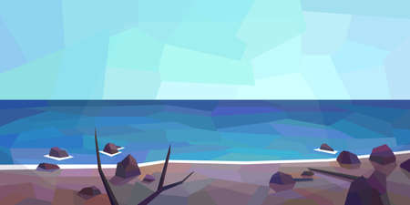 Low poly ocean view. Grey sand, cobbles, horizon, clear sky. Vector illustration