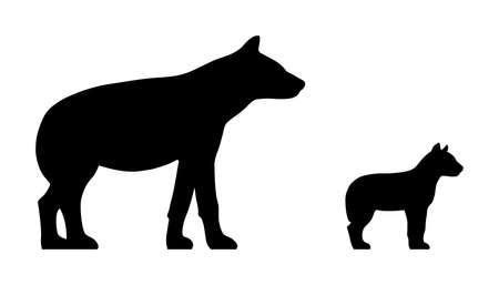 Black silhouettes of hyena and cub isolated on white background. Vector illustration