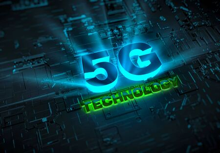 Abstract 5G network technology 3D rendering background image. Created in 3D for use as backgrounds in websites, video, illustrations, and more. High-resolution 6480x4500 px at 300dpi Stock fotó