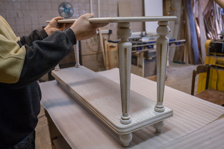 Making furniture from wood. Work carpenter. Carpentry tools. Carpentry workshop