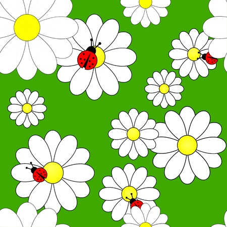 seamless pattern with camomiles Vector