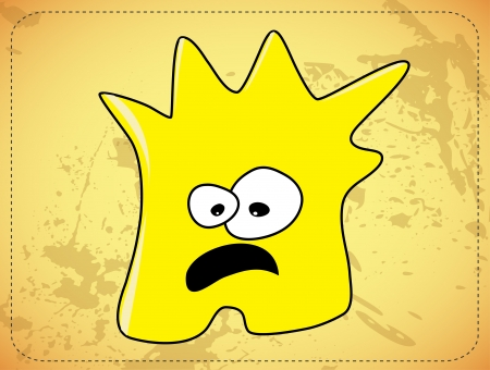 Scared  dishevelled yellow monster photo