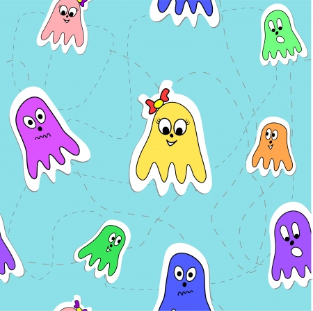 Vector seamless pattern with funny cartoon octopuses Vector