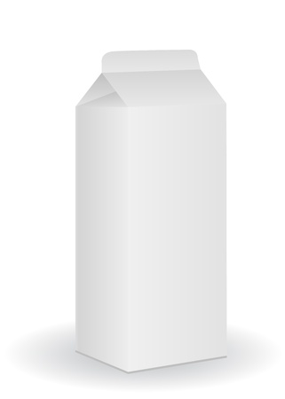 flavorful: Blank milk box isolated on white background