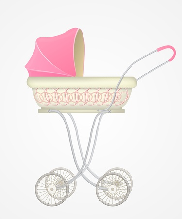 illustration of baby carriage for girl
