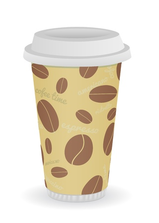 coffee cup illustration with coffee bean's pattern Vector