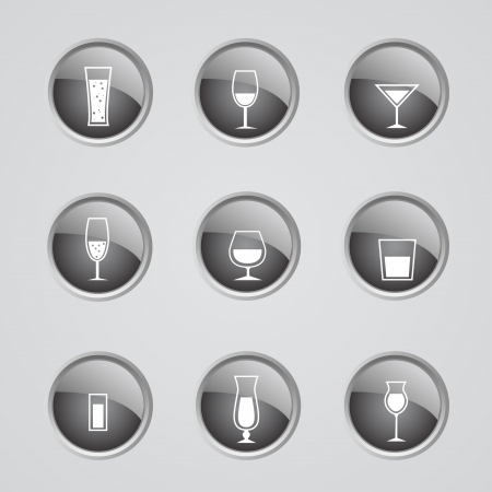 inactive: Set of 9 glow modern icons - alcohol off (inactive)