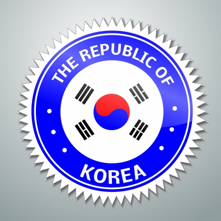 Flag label series - The republic of Korea Vector