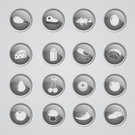 inactive: Set of 16 glow modern icons - ingredients - off (inactive)