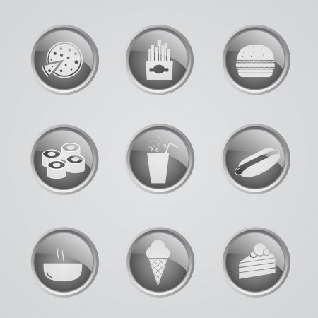 inactive: Set of 9 glow metallic icons - Fast Food - off (inactive) Illustration