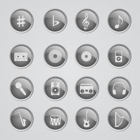 inactive: Set of 16 glow metallic icons - Music - off (inactive)