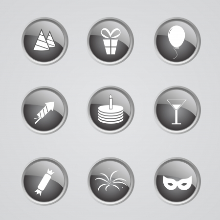 inactive: Set of 9 pink glow modern icons  - party off (inactive) Illustration