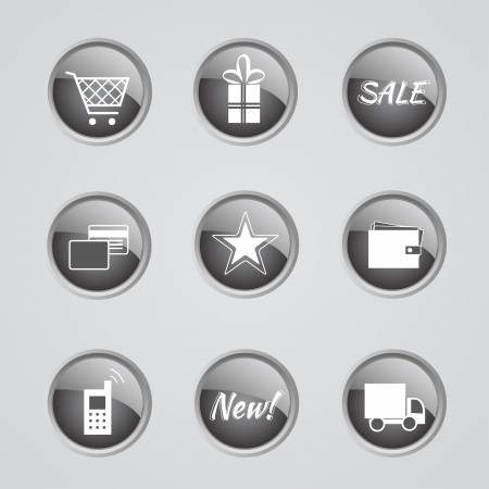 metalic design: Set of 9 glow modern icons - internet shop - off (inactive)