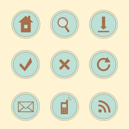 Set of 9  vintage icons for websites Stock Vector - 21317212