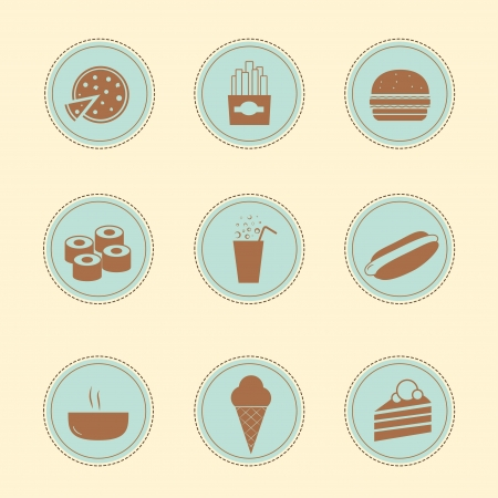 Set of 9 vintage icons - Food Takeaway