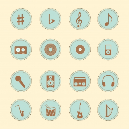 Set of 16 vintage icons - Music Vector