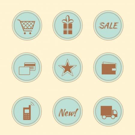 internet shop: Set of 9 pink female icons - internet shop Illustration