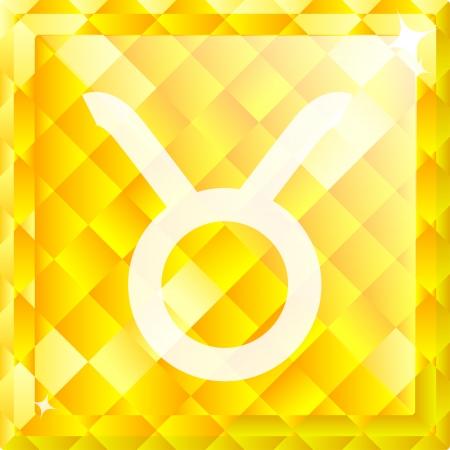 stone of destiny: Vector shiny yellow diamond zodiac sign - Taurus