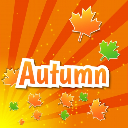 vecotr: Vecotr autumn background with paper colored maple leaves and stripes