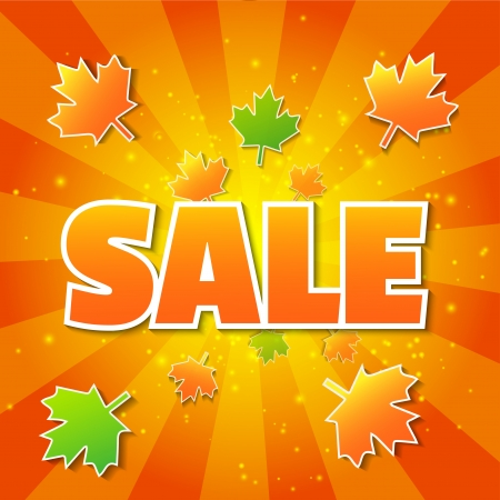 Vector autumn orange sale poster with maple leaves