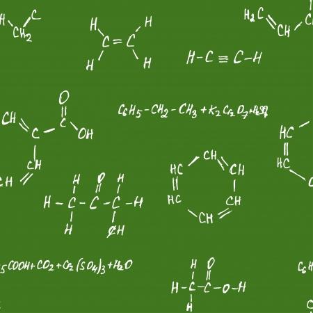 Seamlessly vector wallpaper chemistry scribbles on green chalkboard Vector