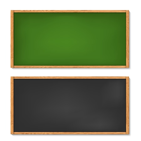 Vector illustration of blank black and green chalkboard with wooden frame Vector