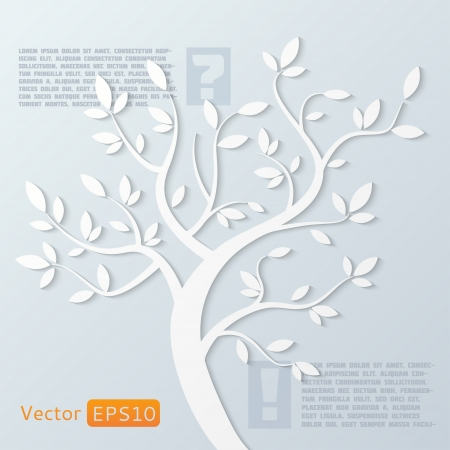 Abstract vector paper tree on gray background with your text