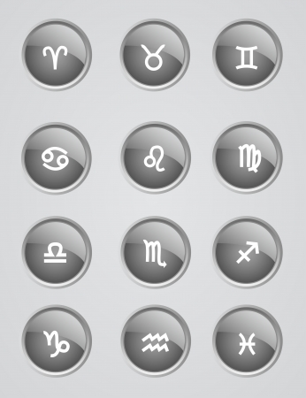 inactive: Vector set of glow modern icons - Zodiac - off (inactive) Illustration