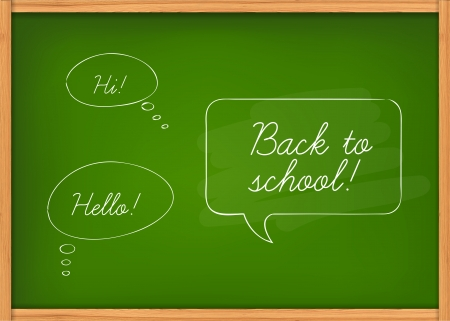 Vector illustration of black class chalkboard with speech bubbles Vector