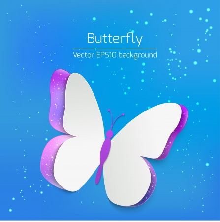 Vector greating card with paper butterfly on blue background Vector