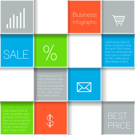Squares template for your presentation with business icons. Vector illustration.