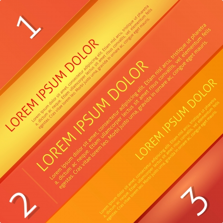 Bright red and orange paper lines, text and numbers diagonal design template for web site and presentation Vector