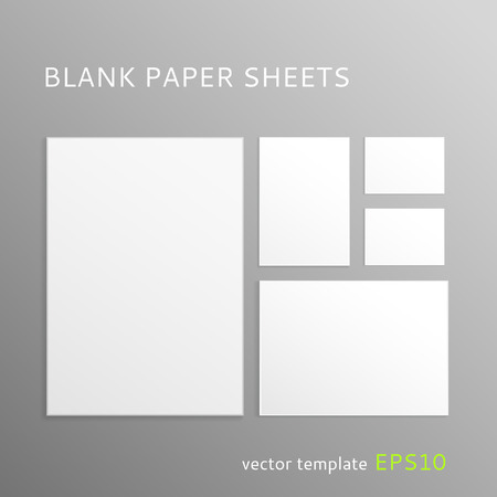 a7: Vector set of blank paper sheets isolated on gray background