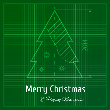 Vector illustration of green graph paper print for New Year and Christmas Vector