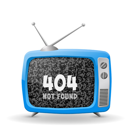 Vector illustration of blue TV isolated on white background for 404-page Vector