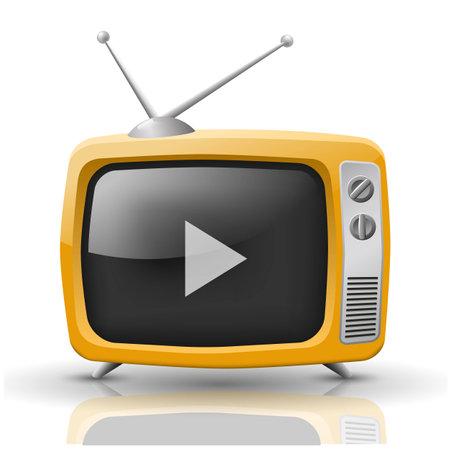 Vector illustration of orange TV isolated on white background