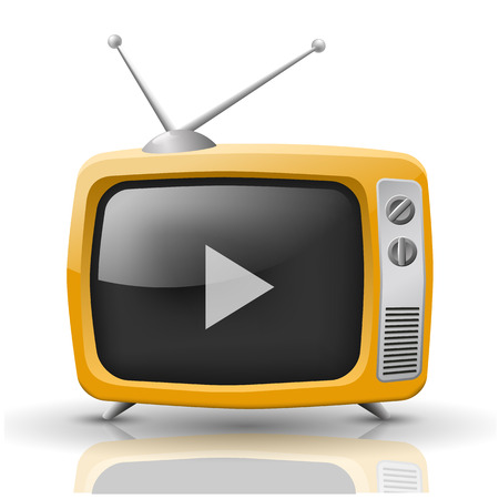 tuner: Vector illustration of orange TV isolated on white background