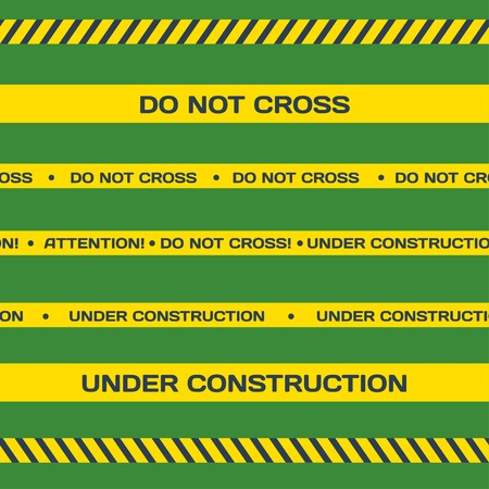 background csi: Vector set of Flat Under construction lines on green background