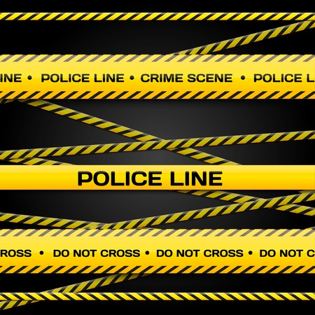 perimeter: Vector set of  Police lines on dark background for yours banners and websites