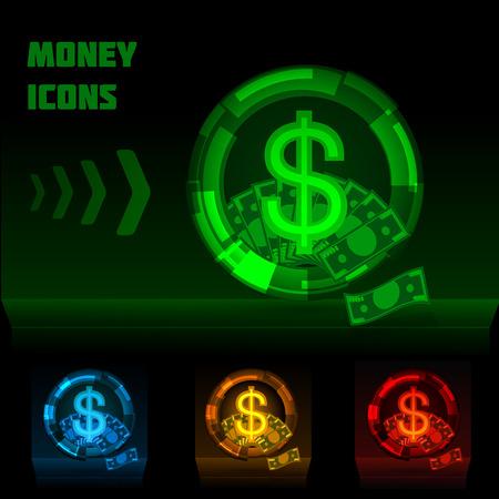 luminescent: Luminescent colored money icons on dark background