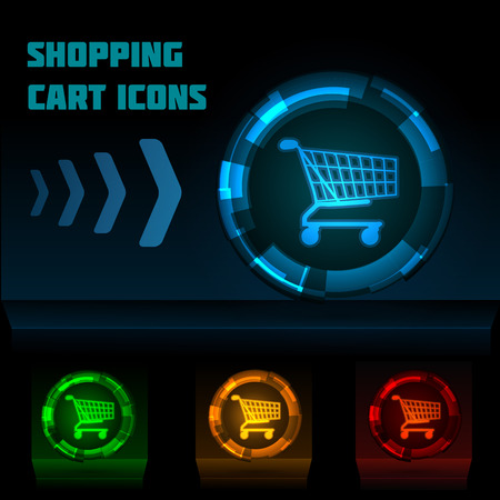 luminescent: Luminescent colored shopping cart icons on dark background