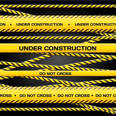 danger do not cross: Vector set of Under construction lines on dark background for yours banners and websites Illustration