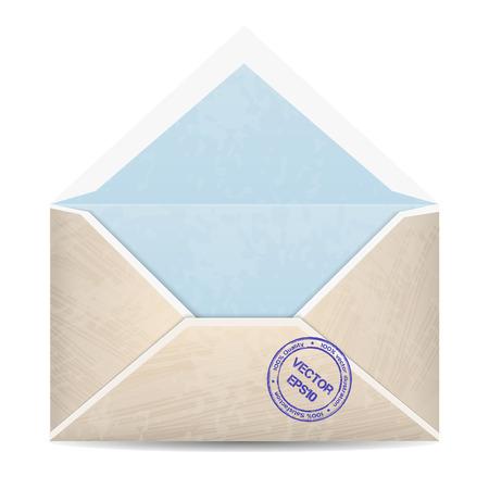 back view: Illustration of open vintage envelope with stamp. Back view. Illustration