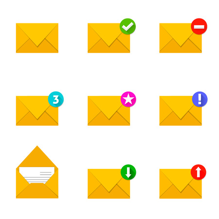 recieve: Set of envelope icons with different condition Illustration