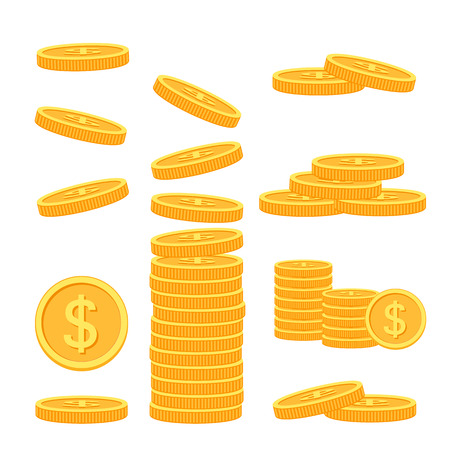 Set of flat coins on colorful background