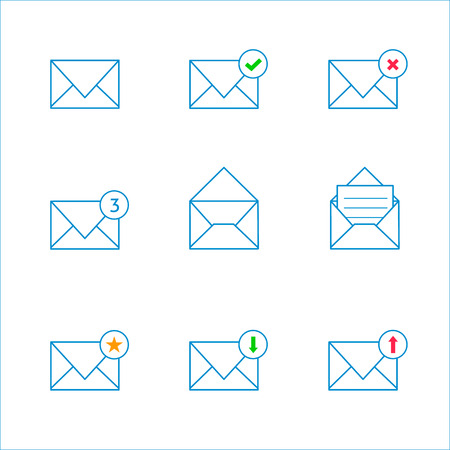unread: Set of outline envelope icons with different condition Illustration