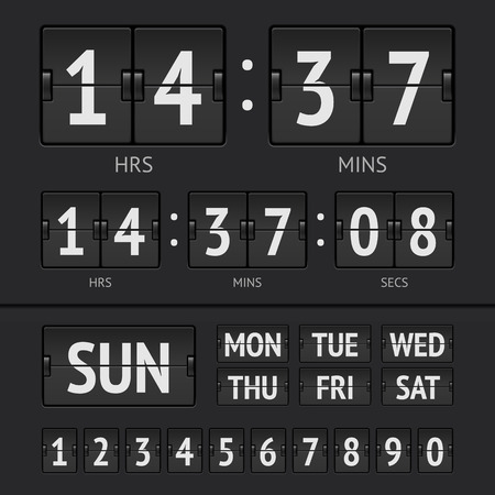 Analog black scoreboard digital week timer. Vector illustration Vector
