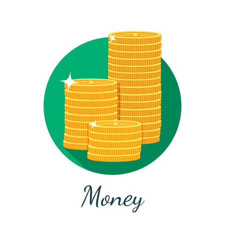 gold coins: Flat coin icon with long shadow. Vector illustration. Illustration