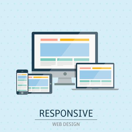 Vector illustration of flat concept responsive web design on blue background Vector